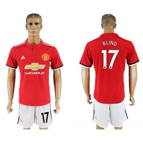 Manchester United #17 Blind Red Home Soccer Club Jersey