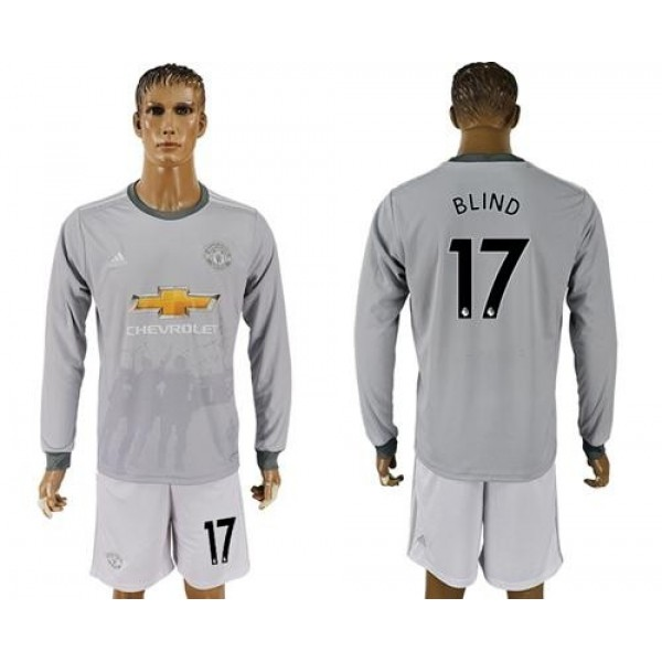 Manchester United #17 Blind Sec Away Long Sleeves Soccer Club Jersey