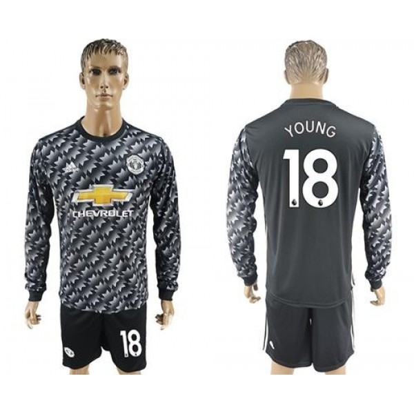 Manchester United #18 Young Black Long Sleeves Soccer Club Jersey