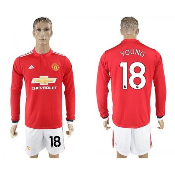 Manchester United #18 Young Red Home Long Sleeves Soccer Club Jersey
