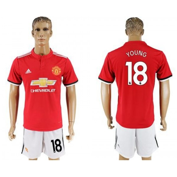 Manchester United #18 Young Red Home Soccer Club Jersey