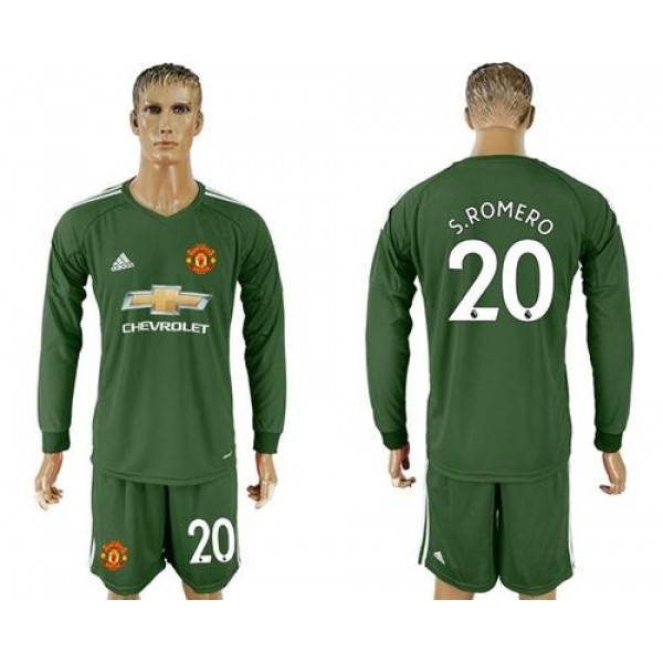Manchester United #20 S.Romero Green Goalkeeper Long Sleeves Soccer Club Jersey