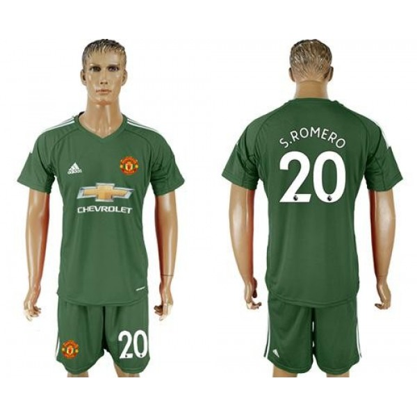 Manchester United #20 S.Romero Green Goalkeeper Soccer Club Jersey