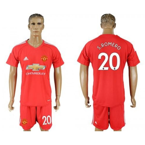 Manchester United #20 S.Romero Red Goalkeeper Soccer Club Jersey