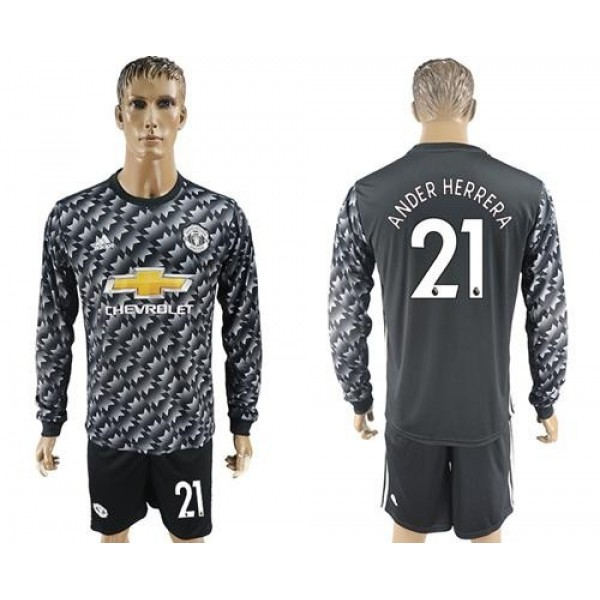 Manchester United #21 Ander Herrera Black Long Sleeves Soccer Club Jersey