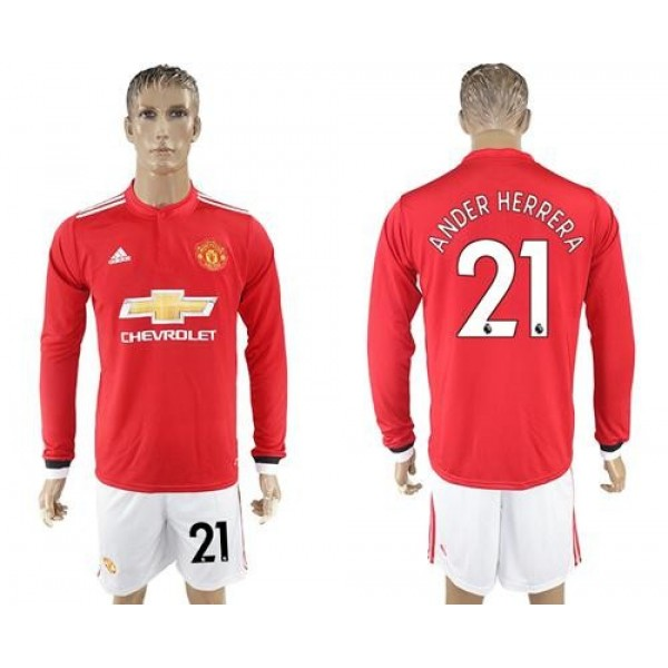 Manchester United #21 Ander Herrera Red Home Long Sleeves Soccer Club Jersey