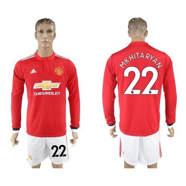Manchester United #22 Mkhitaryan Red Home Long Sleeves Soccer Club Jersey