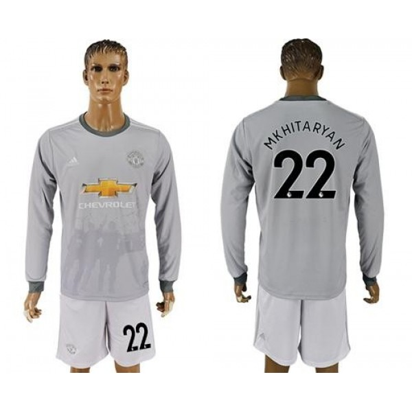 Manchester United #22 Mkhitaryan Sec Away Long Sleeves Soccer Club Jersey