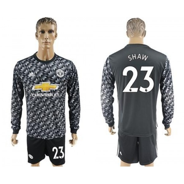 Manchester United #23 Shaw Black Long Sleeves Soccer Club Jersey
