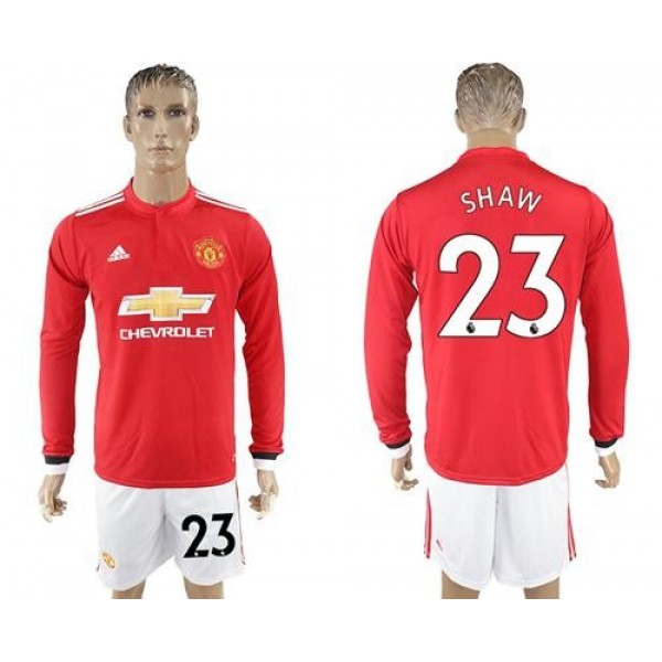 Manchester United #23 Shaw Red Home Long Sleeves Soccer Club Jersey
