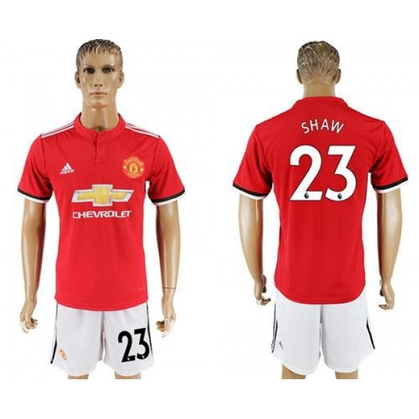 Manchester United #23 Shaw Red Home Soccer Club Jersey