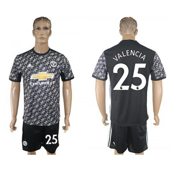 Manchester United #25 Valencia Black Soccer Club Jersey