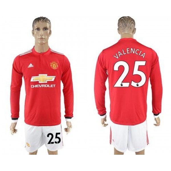 Manchester United #25 Valencia Red Home Long Sleeves Soccer Club Jersey