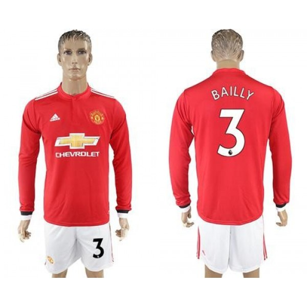 Manchester United #3 Bailly Red Home Long Sleeves Soccer Club Jersey
