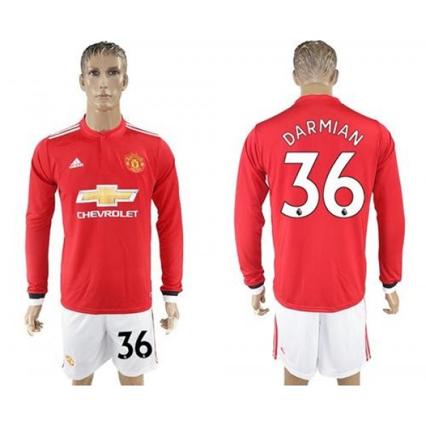 Manchester United #36 Darmian Red Home Long Sleeves Soccer Club Jersey