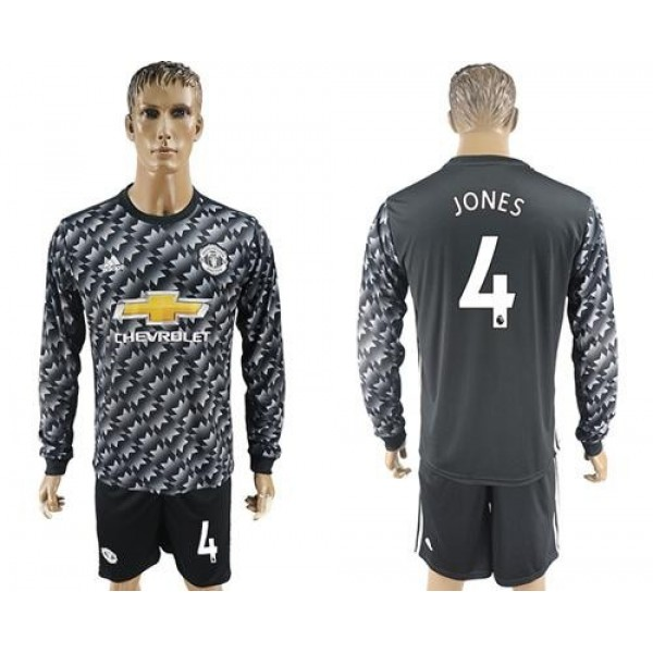Manchester United #4 Jones Black Long Sleeves Soccer Club Jersey