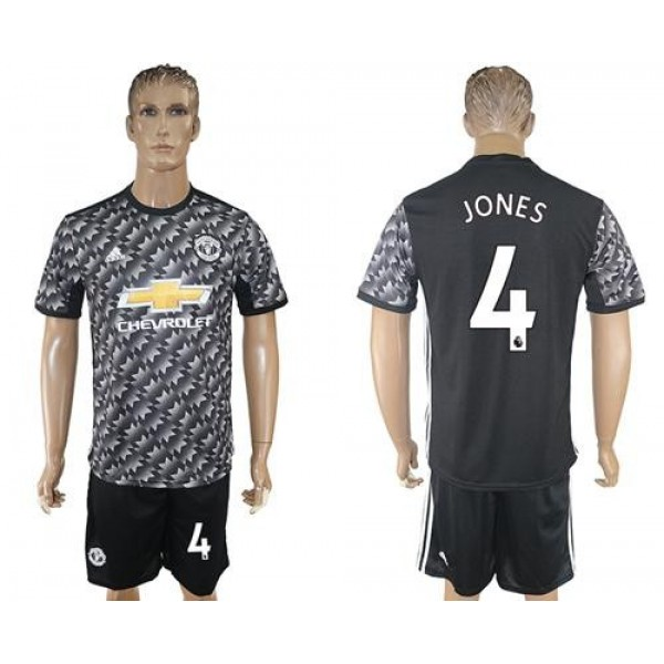Manchester United #4 Jones Black Soccer Club Jersey