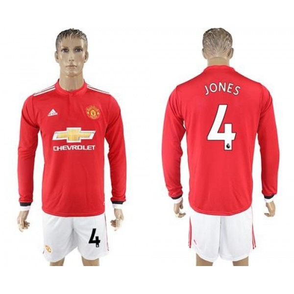 Manchester United #4 Jones Red Home Long Sleeves Soccer Club Jersey