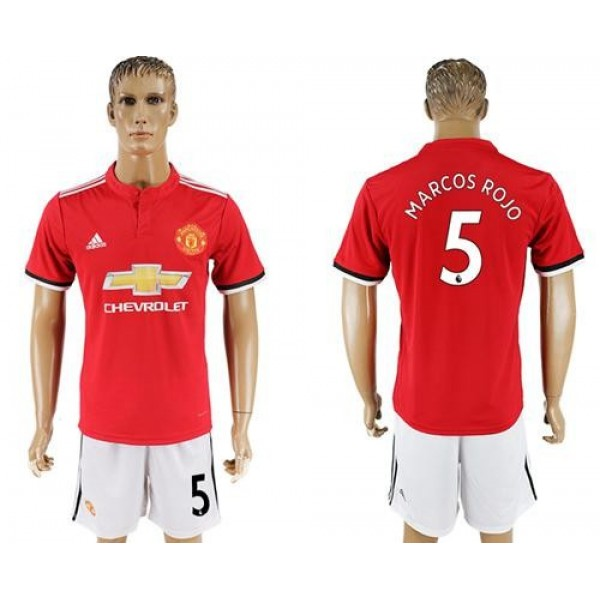 Manchester United #5 Marcos Rojo Red Home Soccer Club Jersey