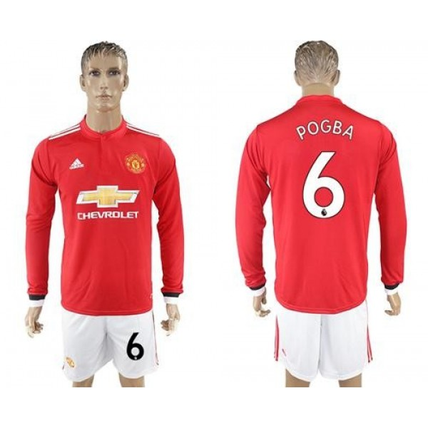 Manchester United #6 Pogba Red Home Long Sleeves Soccer Club Jersey
