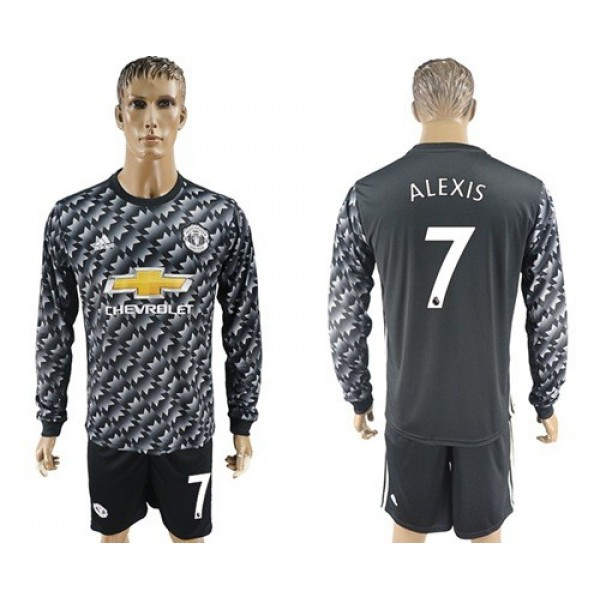 Manchester United #7 Alexis Away Long Sleeves Soccer Club Jersey