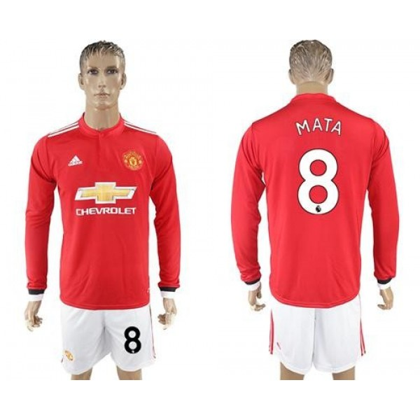 Manchester United #8 Mata Red Home Long Sleeves Soccer Club Jersey