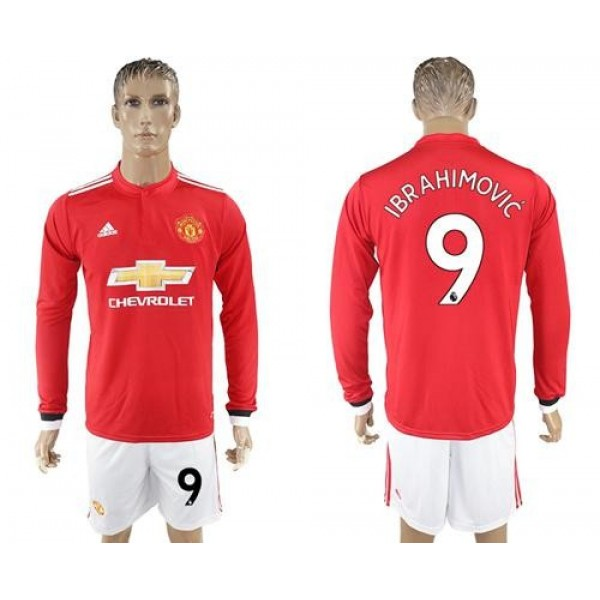 Manchester United #9 Ibrahimovic Red Home Long Sleeves Soccer Club Jersey