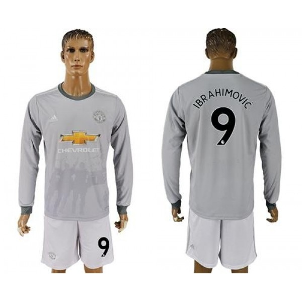 Manchester United #9 Ibrahimovic Sec Away Long Sleeves Soccer Club Jersey