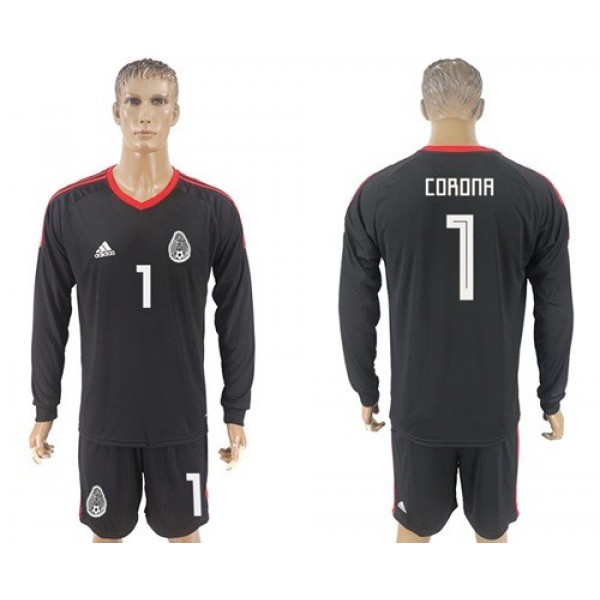 Mexico #1 Corona Black Long Sleeves Goalkeeper Soccer Country Jersey