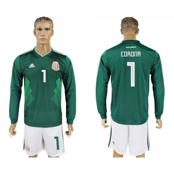Mexico #1 Corona Home Long Sleeves Soccer Country Jersey