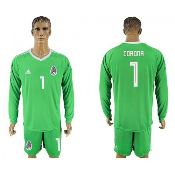 Mexico #1 Corona Shiny Green Long Sleeves Goalkeeper Soccer Country Jersey