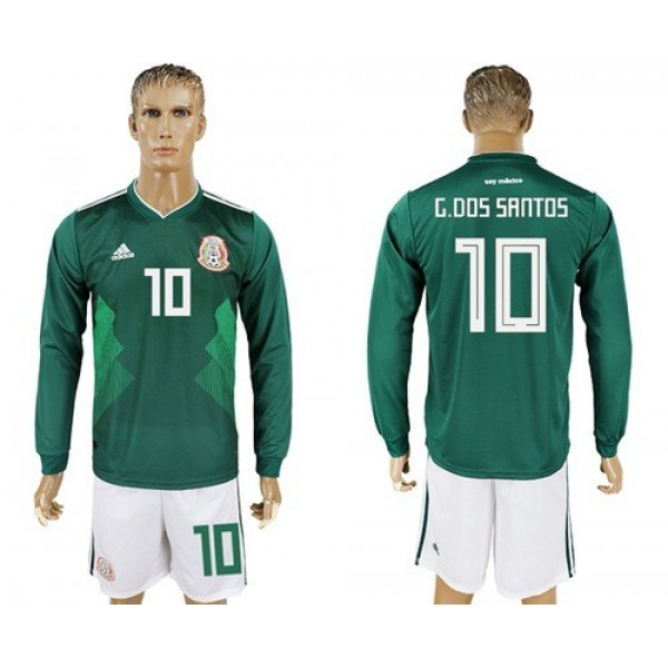 Mexico #10 G.Dos Santos Home Long Sleeves Soccer Country Jersey