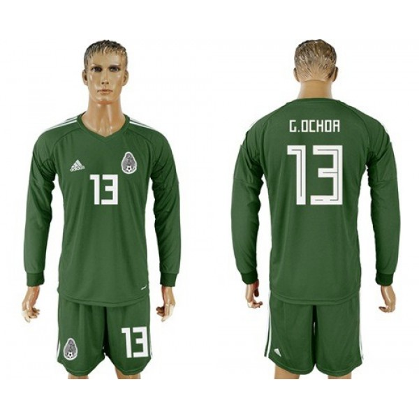 Mexico #13 G.Ochoa Green Long Sleeves Goalkeeper Soccer Country Jersey