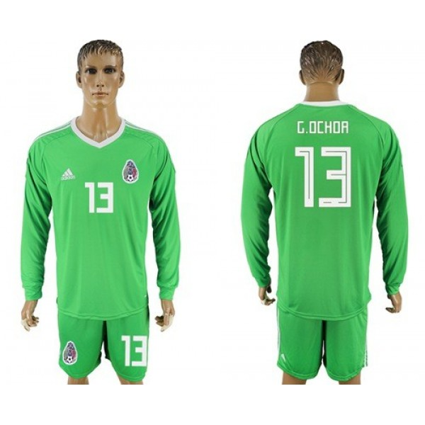 Mexico #13 G.Ochoa Shiny Green Long Sleeves Goalkeeper Soccer Country Jersey
