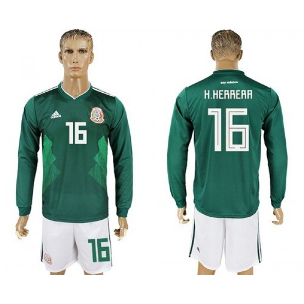 Mexico #16 H.Herrera Home Long Sleeves Soccer Country Jersey