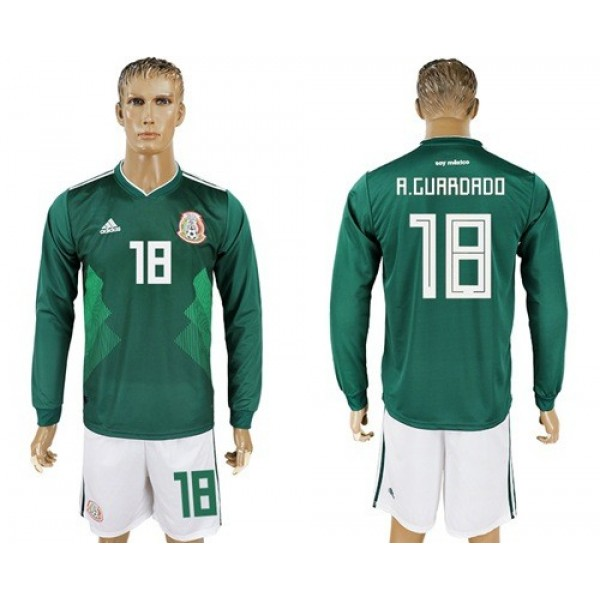 Mexico #18 A.Guardado Home Long Sleeves Soccer Country Jersey