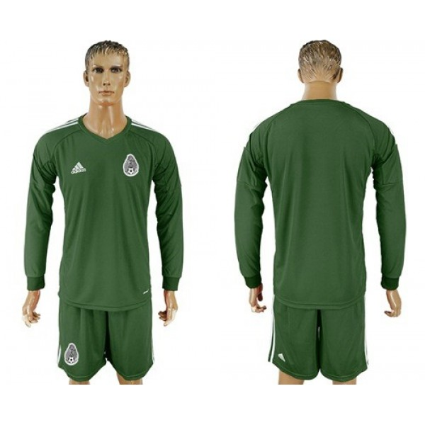 Mexico Blank Green Long Sleeves Goalkeeper Soccer Country Jersey