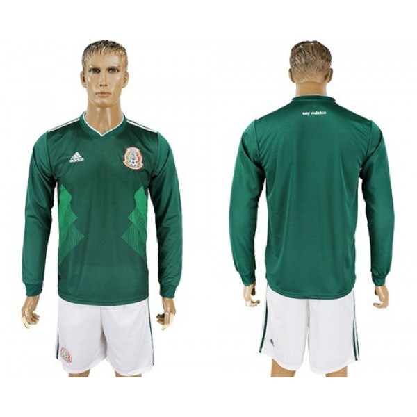 Mexico Blank Home Long Sleeves Soccer Country Jersey