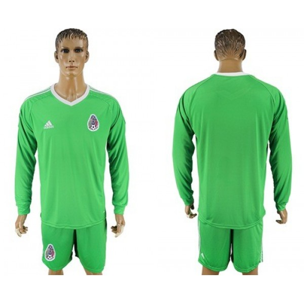 Mexico Blank Shiny Green Long Sleeves Goalkeeper Soccer Country Jersey