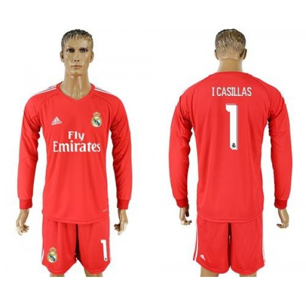 Real Madrid #1 I Casillas Red Goalkeeper Long Sleeves Soccer Club Jersey