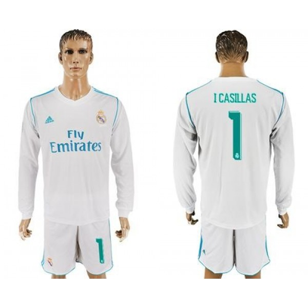 Real Madrid #1 I Casillas White Home Long Sleeve Soccer Club Jersey