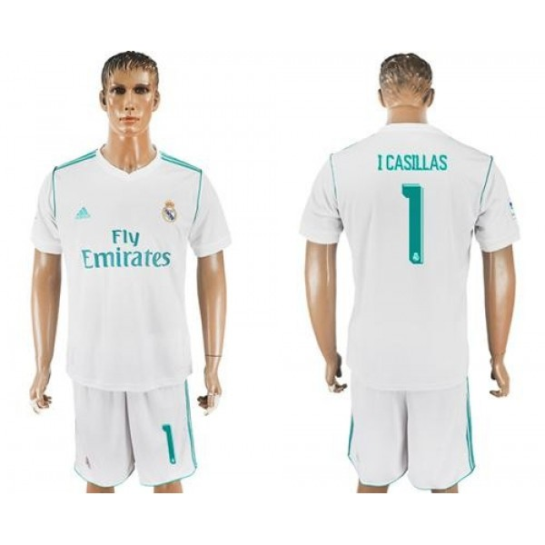 Real Madrid #1 I.Casillas White Home Soccer Club Jersey