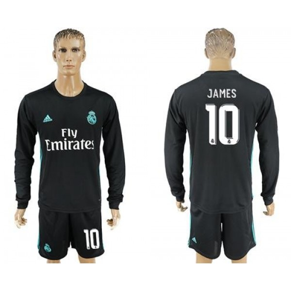 Real Madrid #10 James Away Long Sleeves Soccer Club Jersey