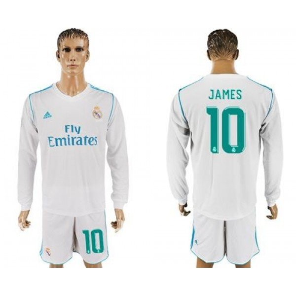 Real Madrid #10 James White Home Long Sleeves Soccer Club Jersey