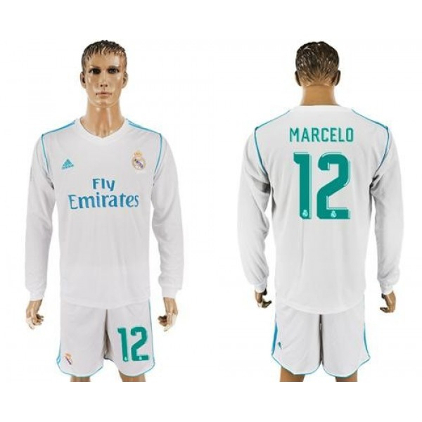 Real Madrid #12 Marcelo White Home Long Sleeves Soccer Club Jersey