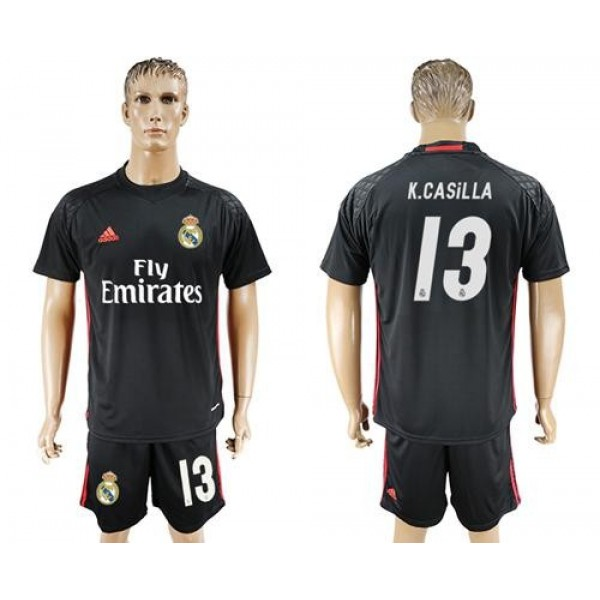 Real Madrid #13 K.Casilla Black Goalkeeper Soccer Club Jersey