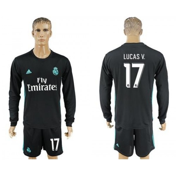 Real Madrid #17 Lucas.V Away Long Sleeves Soccer Club Jersey