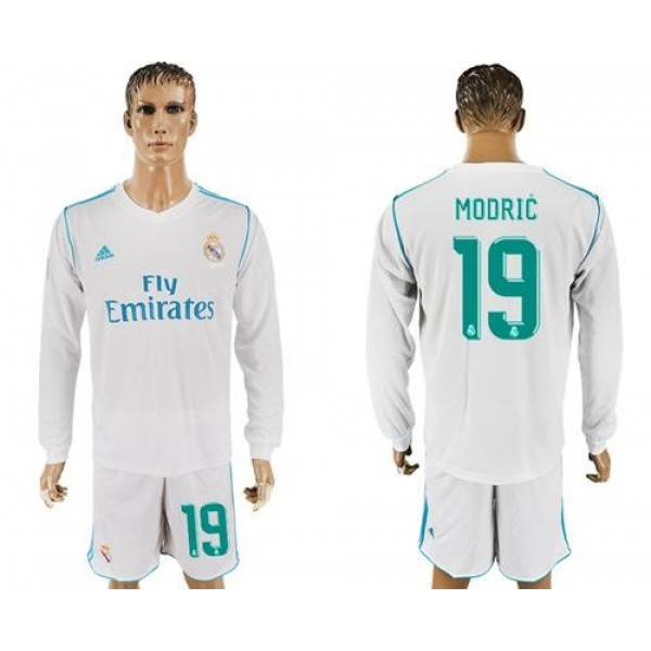 Real Madrid #19 Modric White Home Long Sleeves Soccer Club Jersey