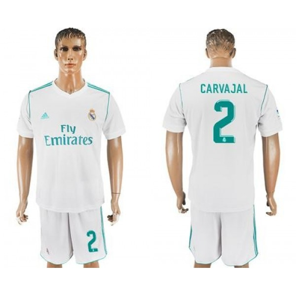 Real Madrid #2 Carvajal White Home Soccer Club Jersey