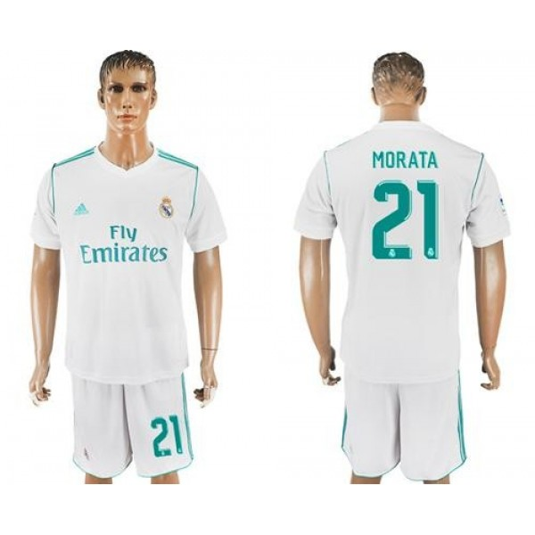 Real Madrid #21 Morata White Home Soccer Club Jersey